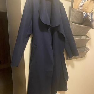 Navy blue waterfall coat